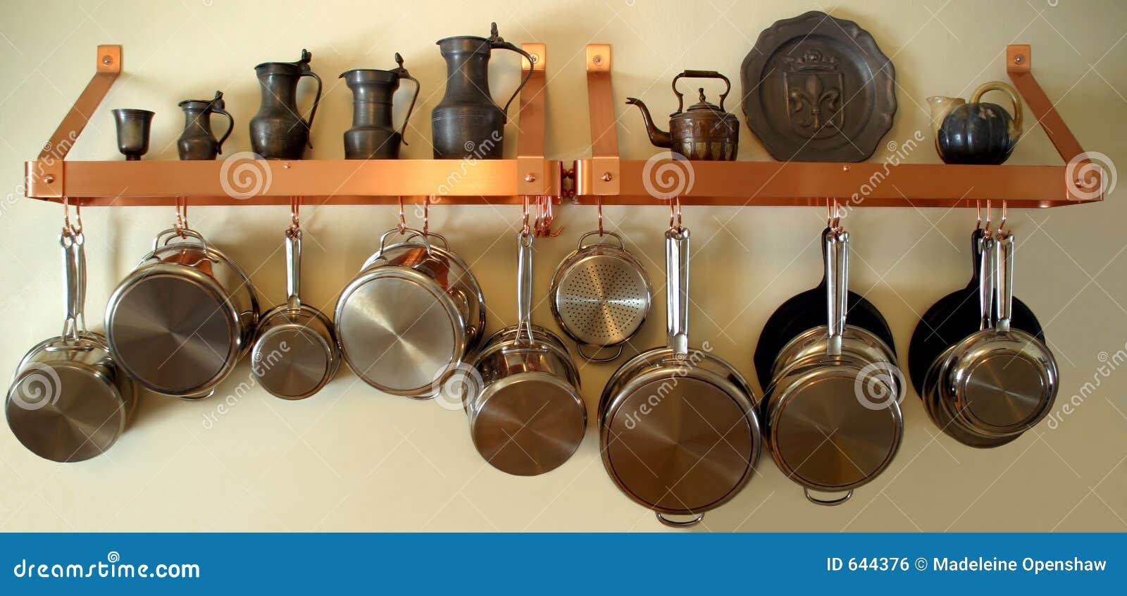 Hangende Potten En Pannen 3 Stock Foto Afbeelding