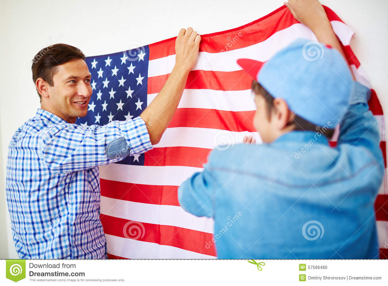 Hang Flag On Wall hanging american flag on wall stock photo - image: 57566460