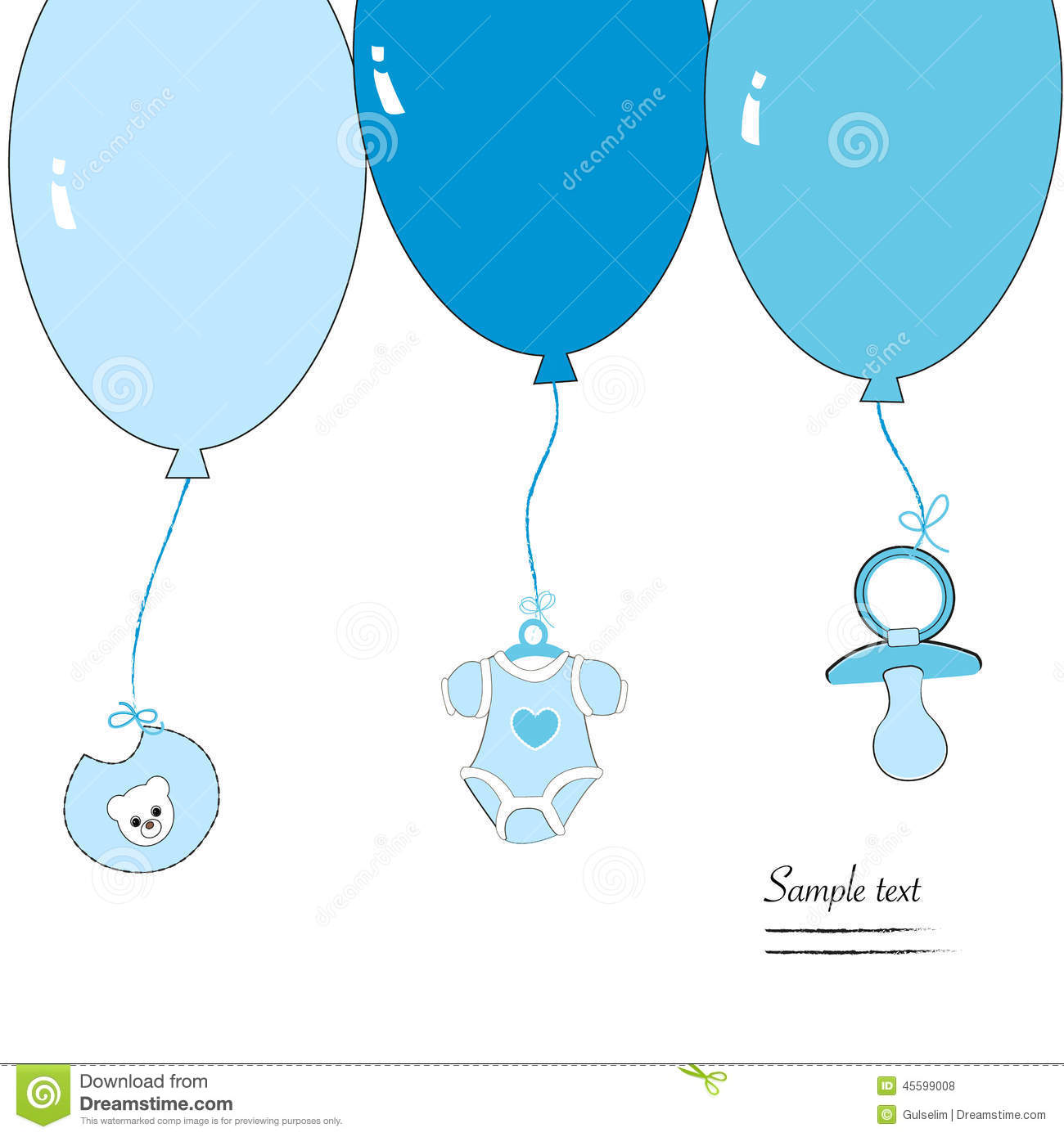 Hanging baby boy clothing symbols with ballon stock illustration hanging baby boy clothing symbols with ballon biocorpaavc Images