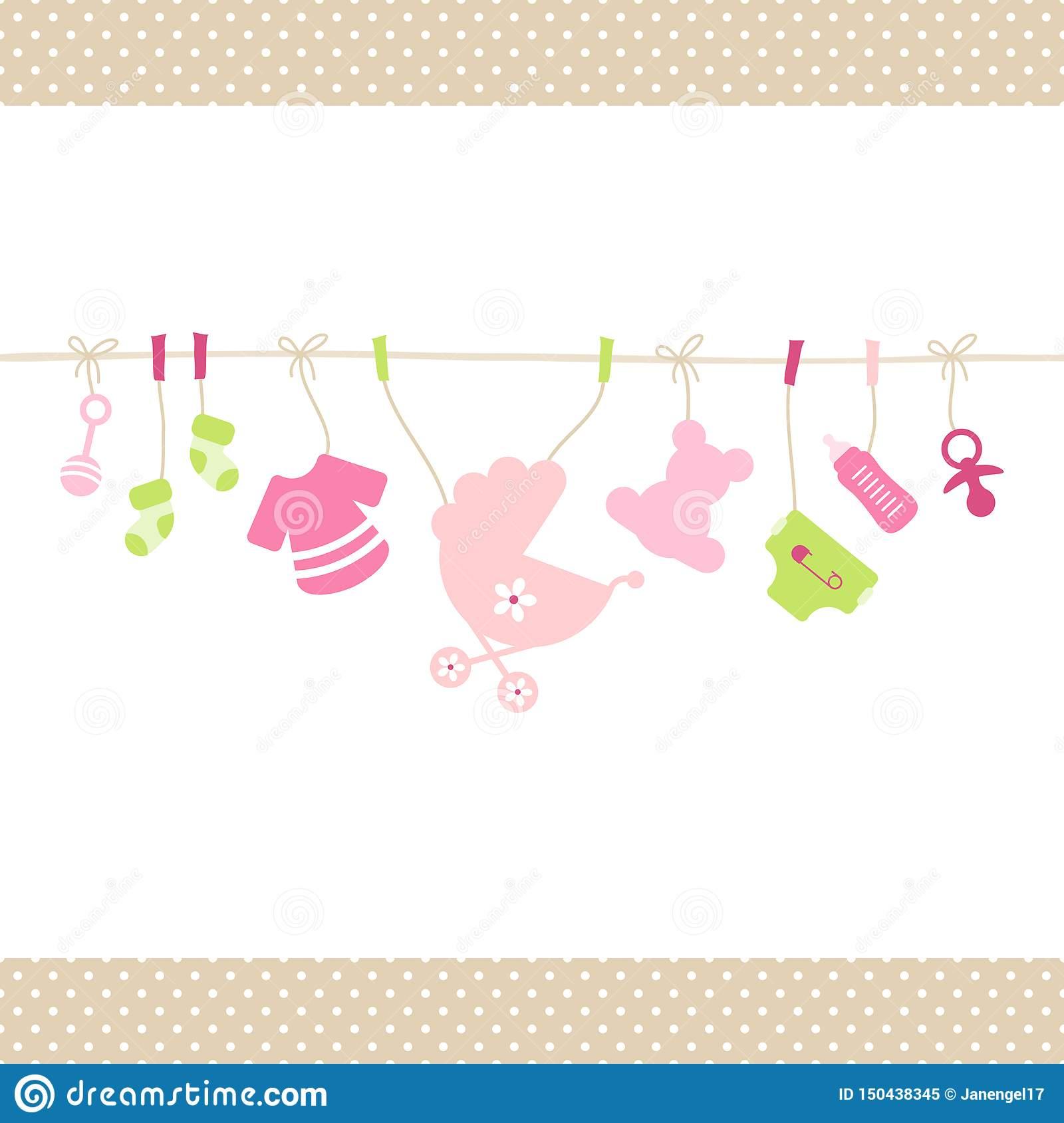 Hanging Baby Girl Icons Straight String Dots Border Beige