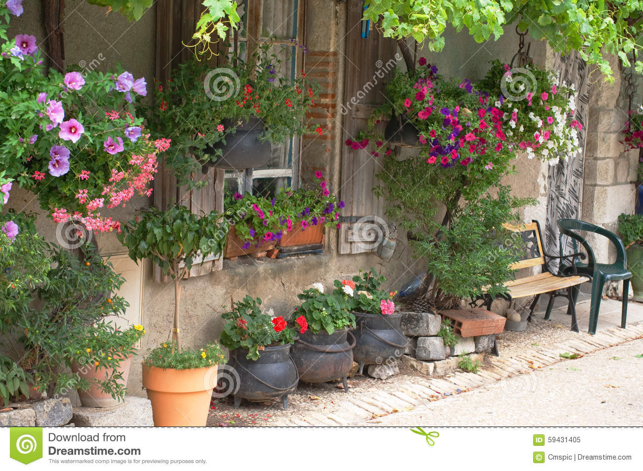 Dreamstime.com & Hanging baskets stock image. Image of house french bench ...
