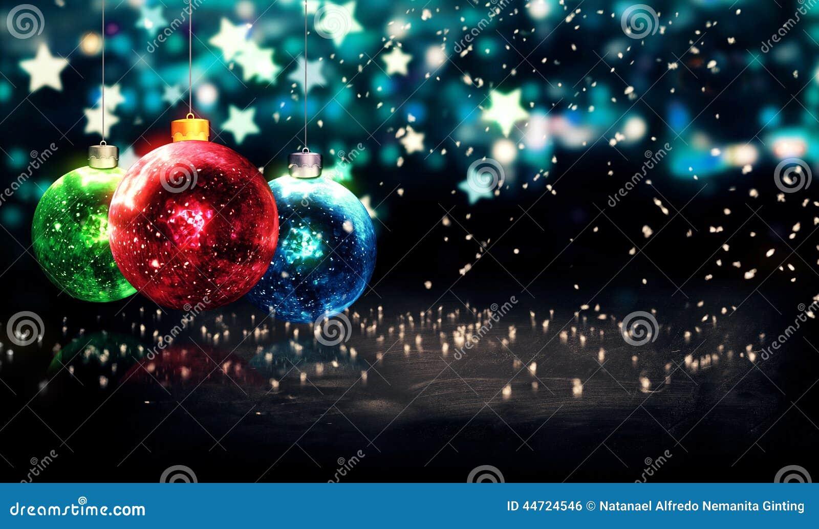 Hanging Baubles Christmas Blue Star Night Bokeh Beautiful 3D
