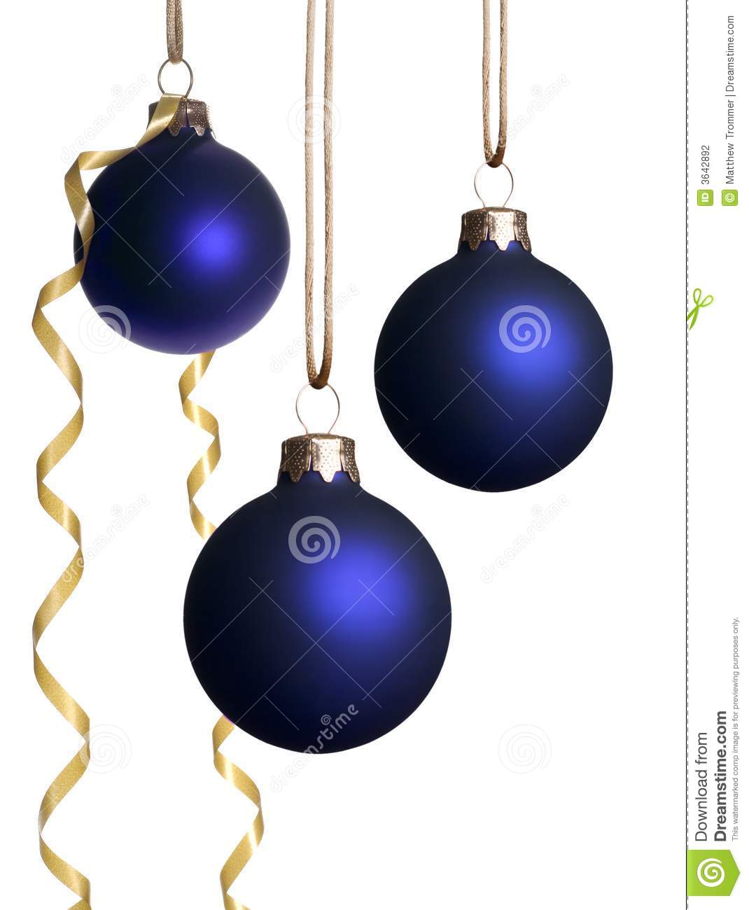 Hanging blue christmas ornaments with gold ribbon stock photography image 3642892 - Hanging christmas ornaments ...