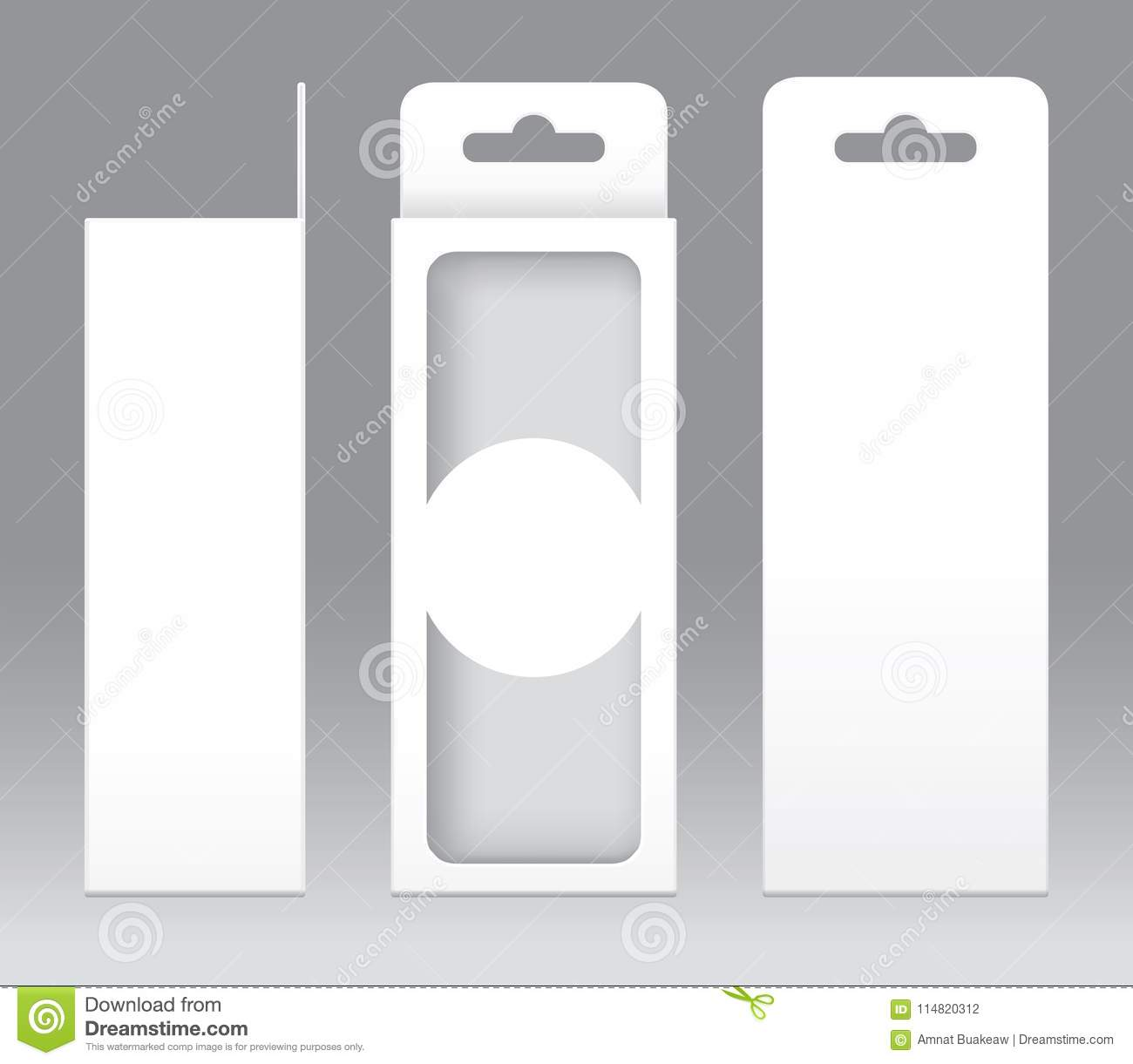 hanging box white window shape cut out packaging template blank