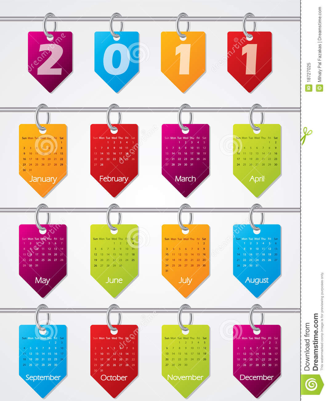 Hanging Calendar Design : Hanging calendar design for royalty free stock photo