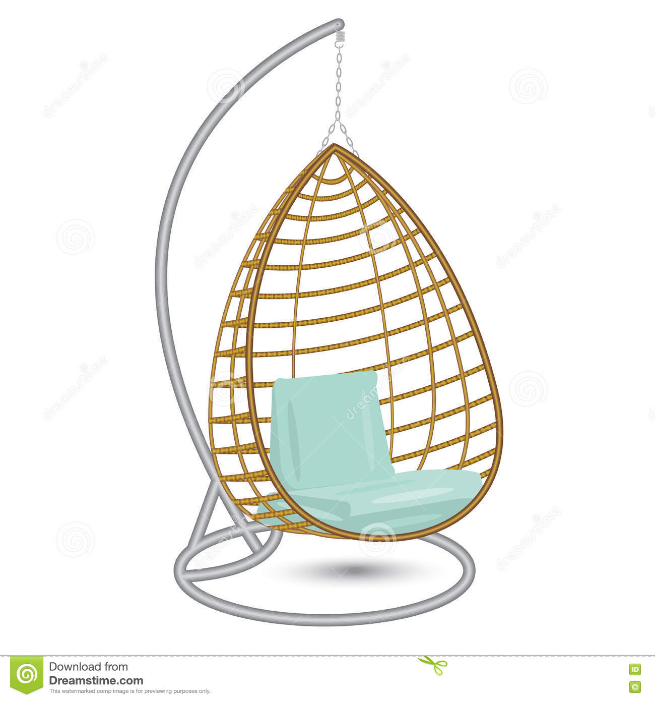 Hanging Chair Swing On The Metal Rack Stock Vector Illustration Of Calm Rattan 78199110