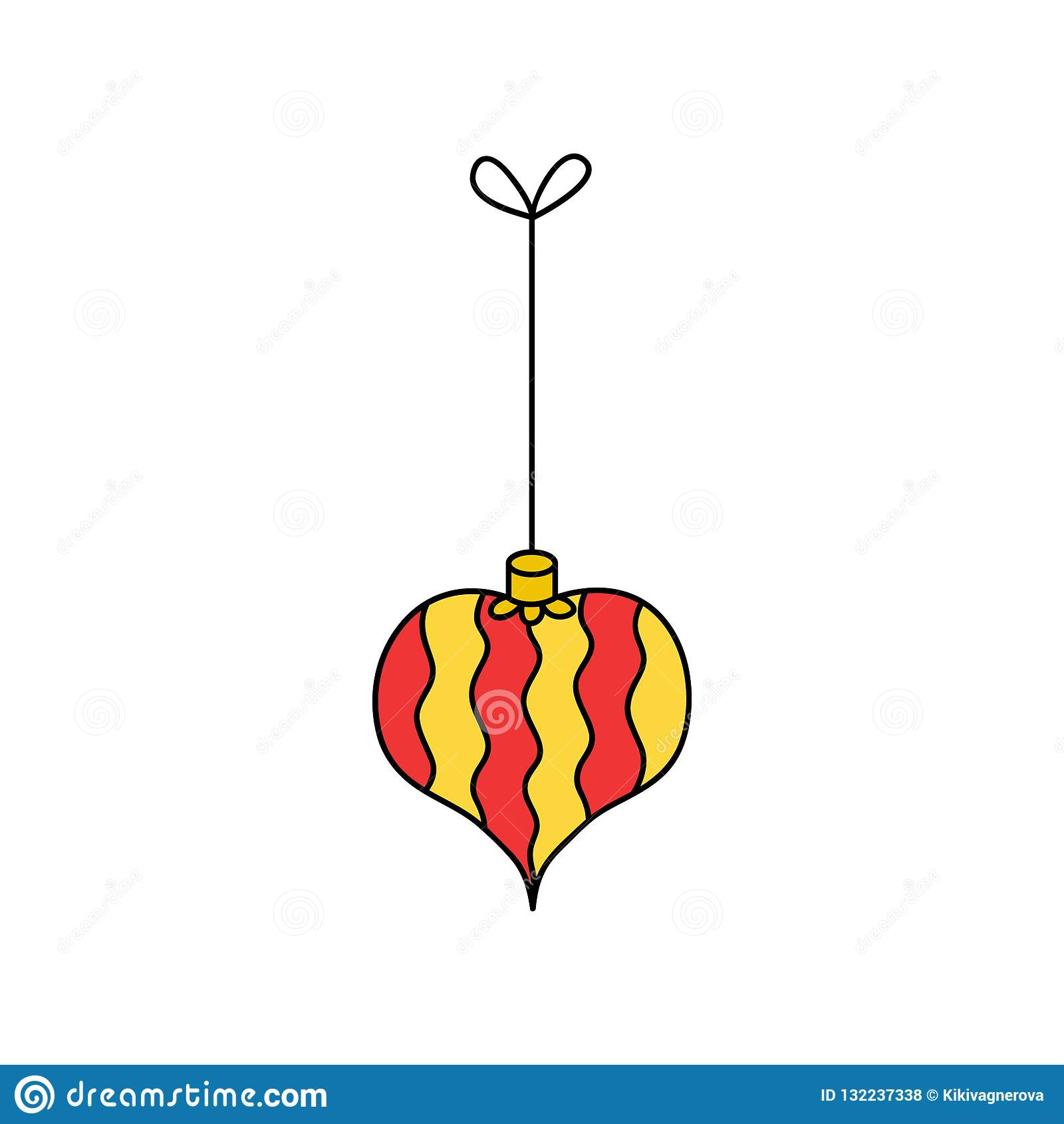 Christmas Heart Vector.Christmas Heart Ornament Vector Illustration Icon Stock