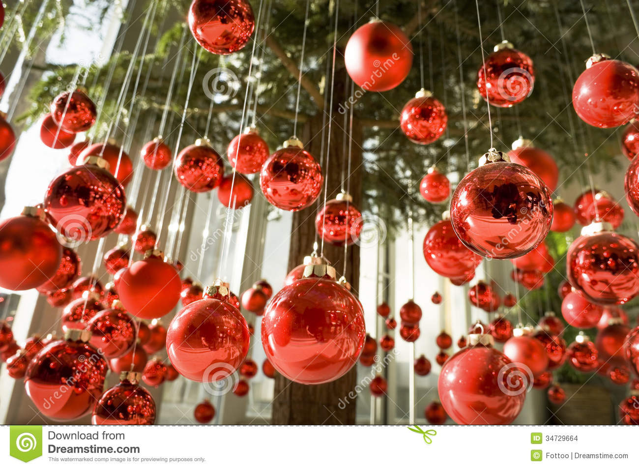 Hanging Christmas Baubles Stock Images
