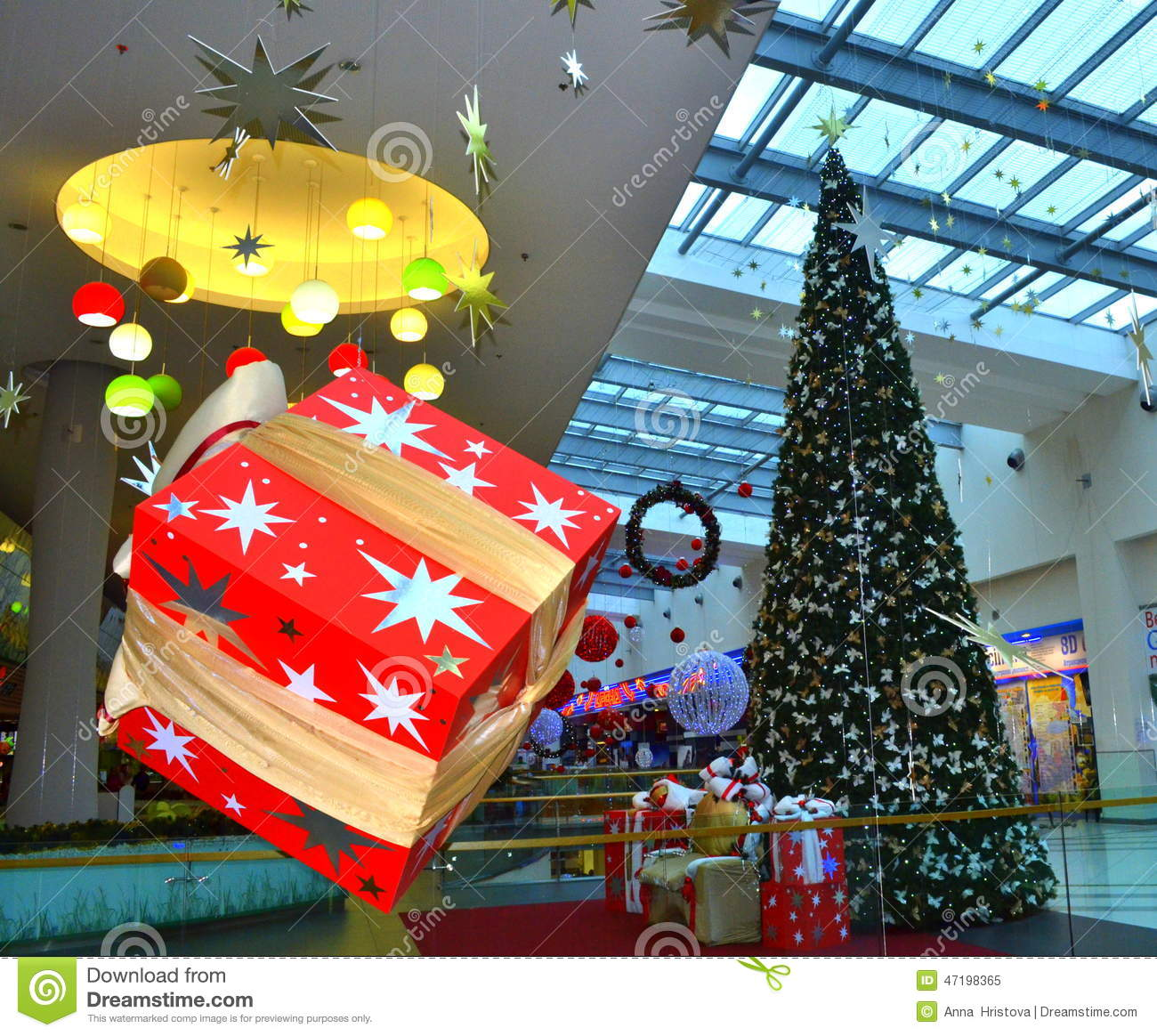 Hanging christmas gift boxes shopping mall stock photo for Christmas decorations online shopping