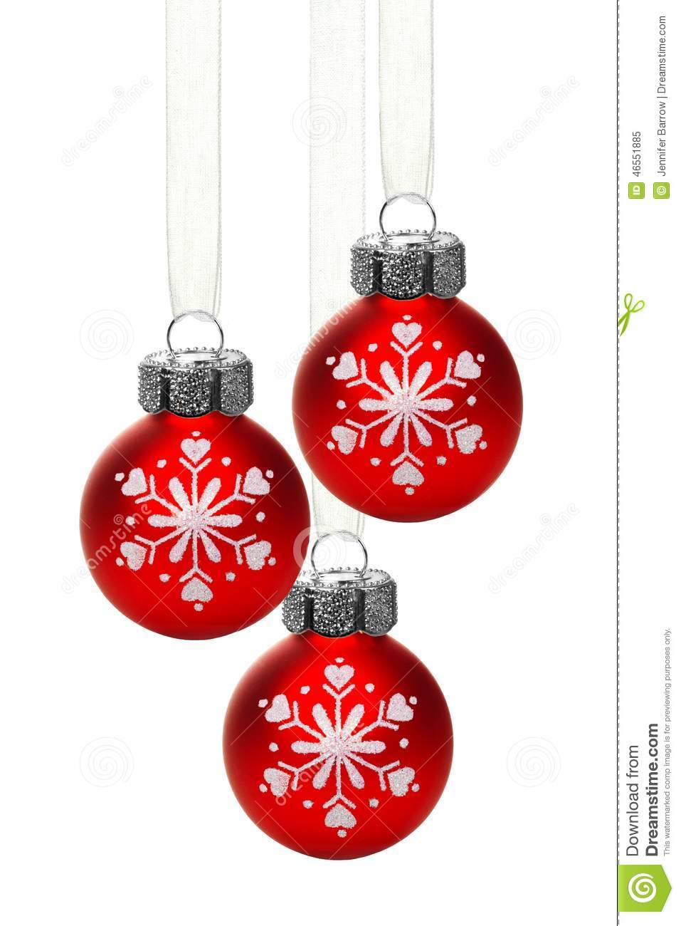 Christmas ornaments with snowflakes stock photo
