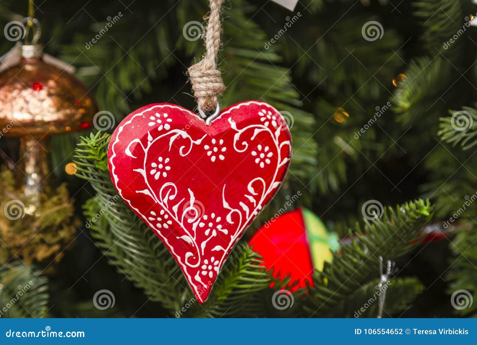 Hanging Christmas Ornaments On Tree Stock Photo Image Of Christmas