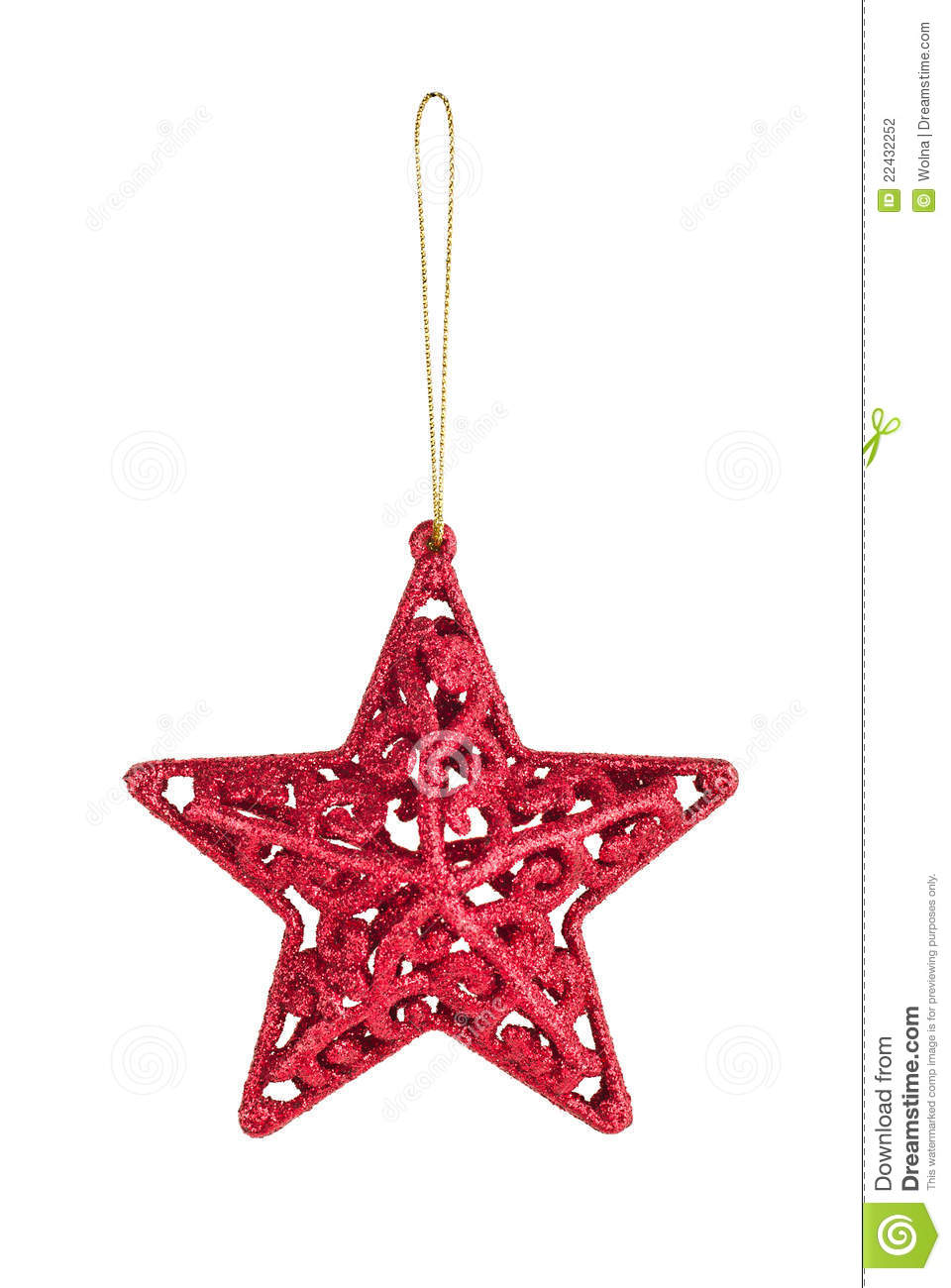 Hanging Christmas red star bauble on gold thread isolated on white ...