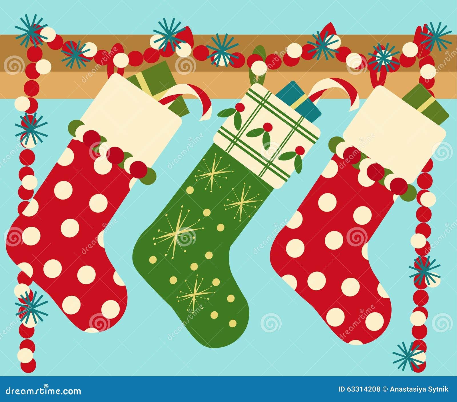 Hanging Christmas Socks With Present Stock Vector