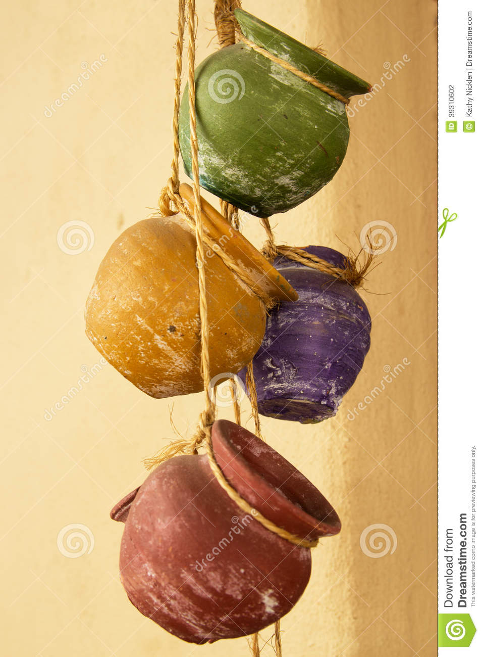 Hanging Clay Pots Stock Photo Image Of Twine Colorful