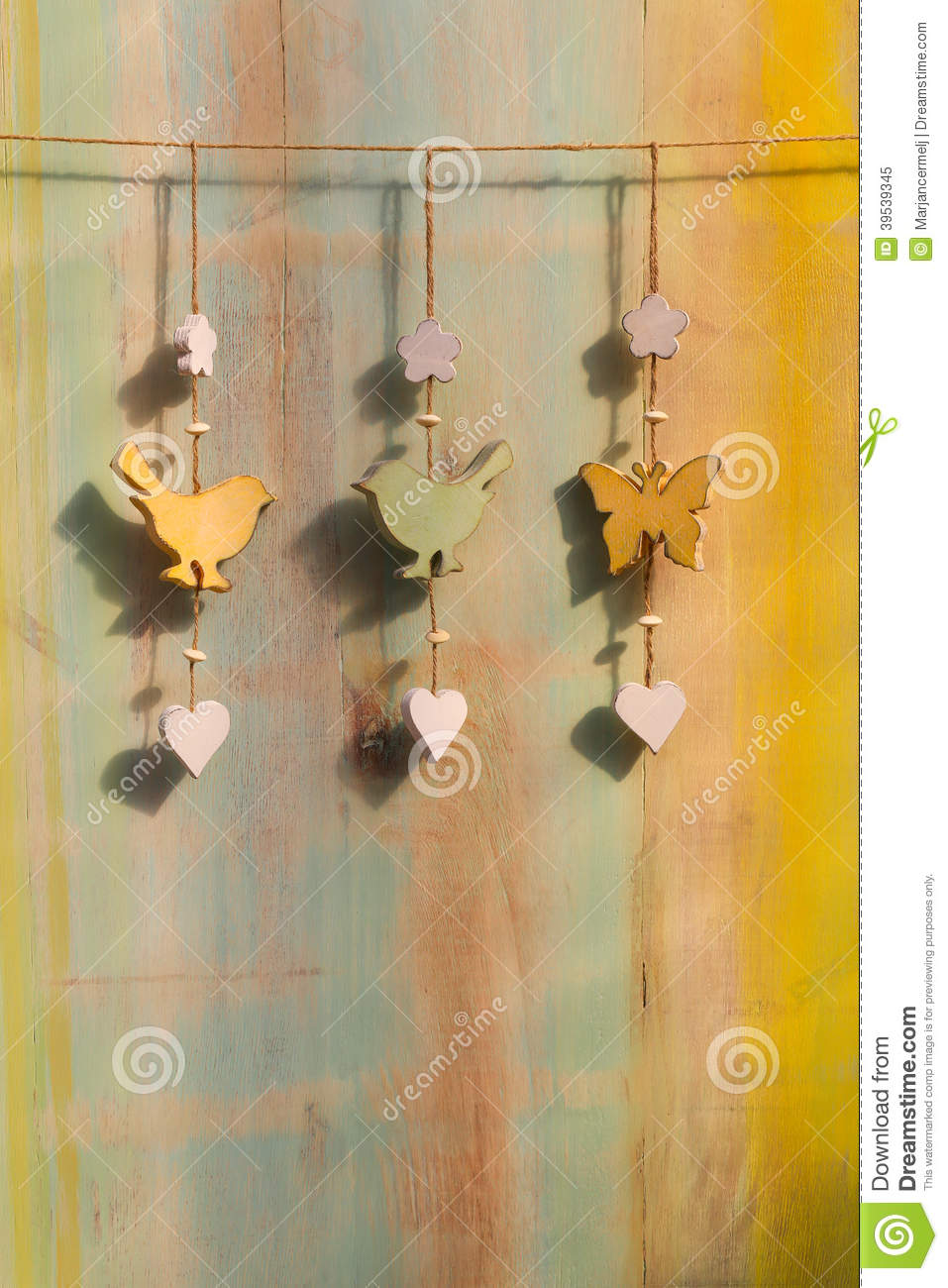 Hanging decor wood on string bird butterfly stock photo   image ...