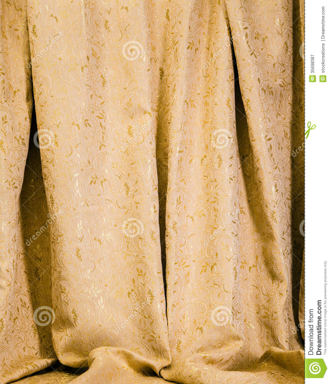 Hanging drapes of gold damask royalty free stock for Acanthus decoration