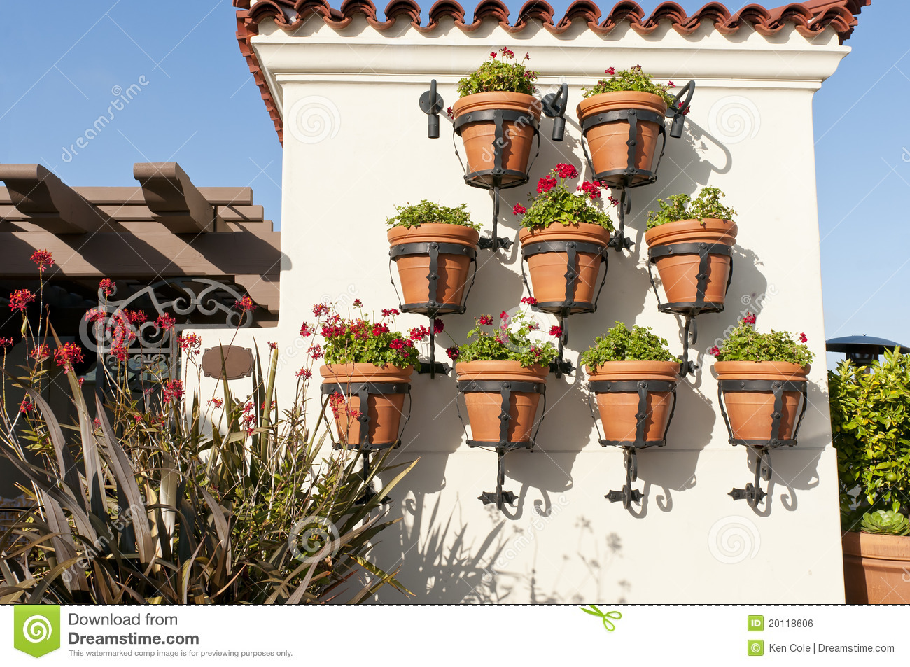 Hanging flower pots royalty free stock image image 20118606 - Flower pots to hang on fence ...