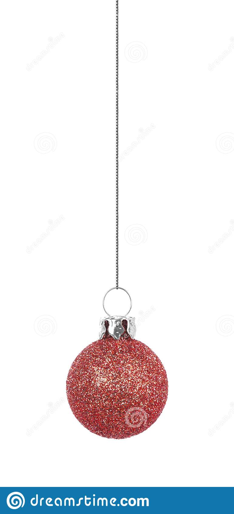 Hanging Glittery Dusty Rose Christmas Ornament Isolated On ...