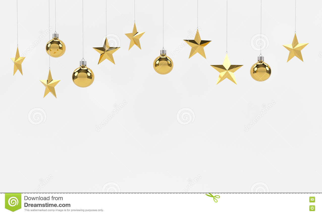 hanging golden balls and stars ornaments on white background for new year or christmas theme