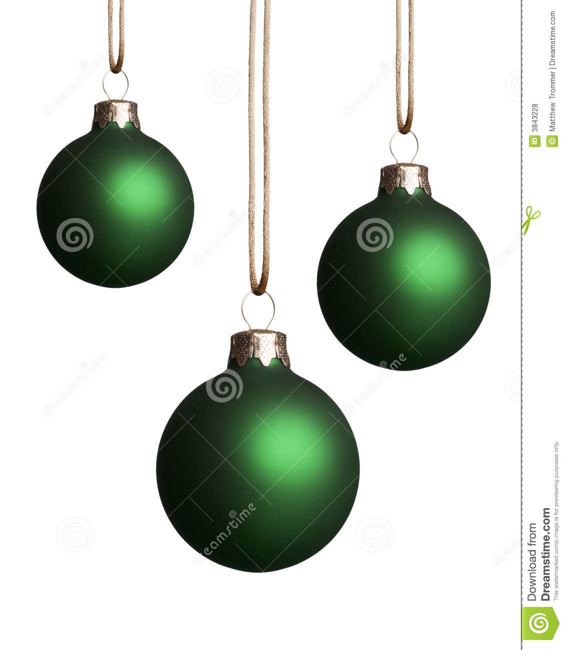 Hanging green christmas ornaments stock photo image of gold shiny 3843228 - Hanging christmas ornaments ...