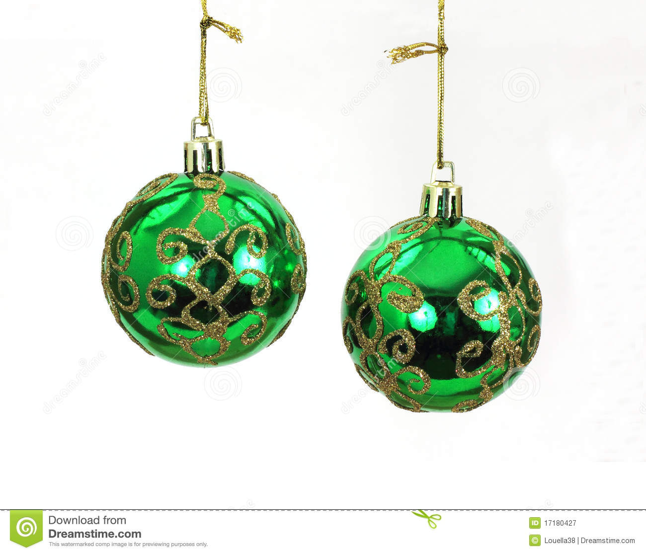 Hanging Green And Gold Christmas Tree Balls