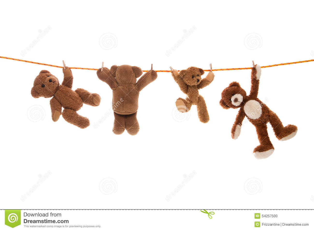 Hanging group of teddy bears on a clothing line with pegs for Hanging groups of pictures