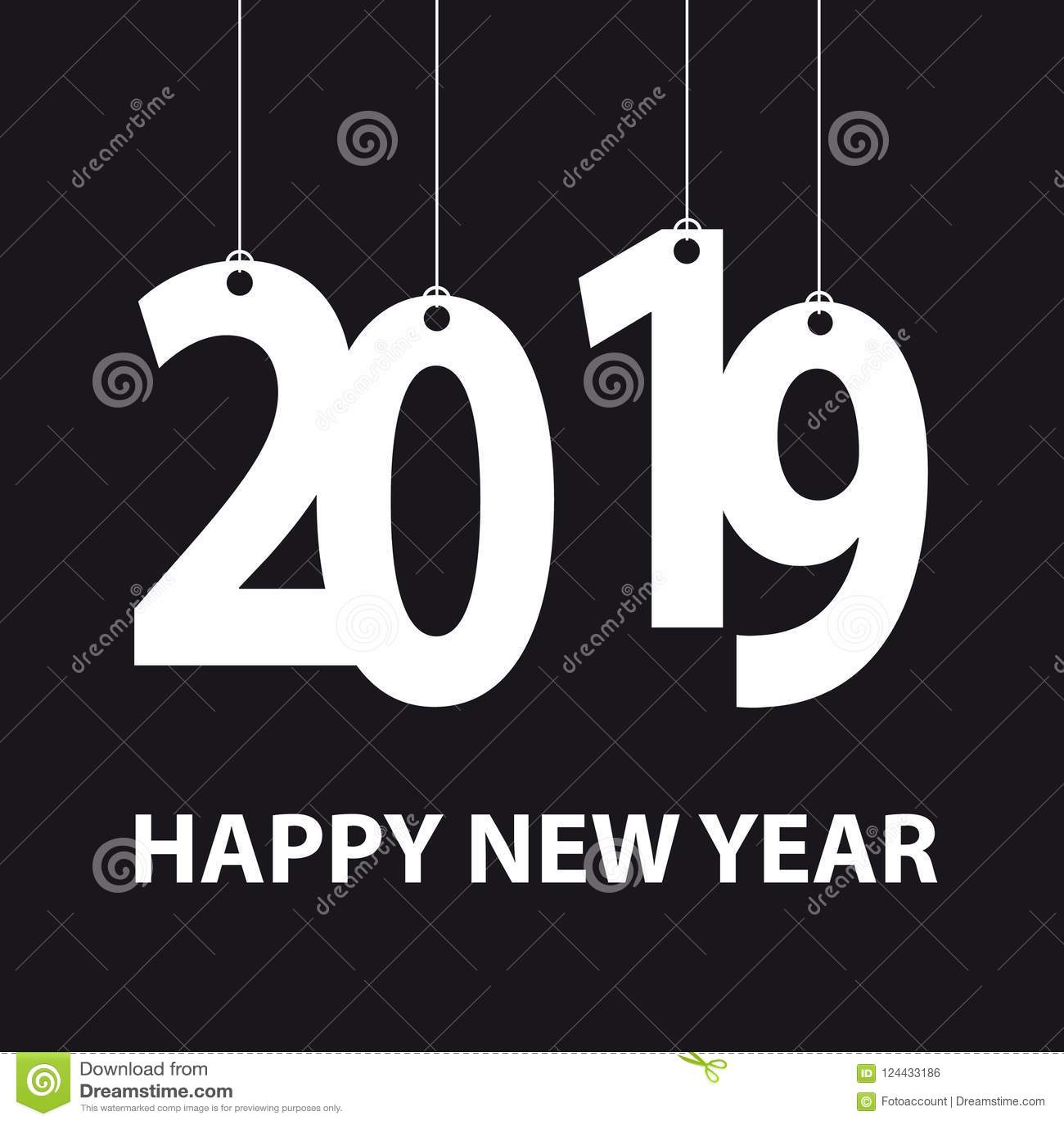hanging happy new year 2019 background white vector illustration isolated on black background
