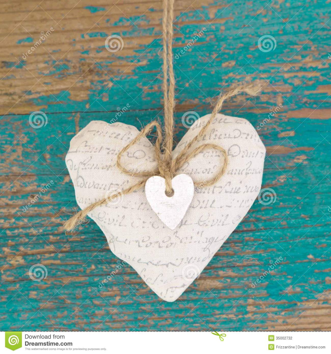 Hanging Heart And Turquoise Wooden Background In Country ...