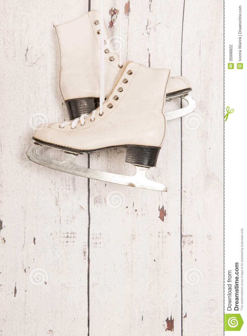 Hanging Ice Skates On Wooden Wall Stock Photo - Image ...