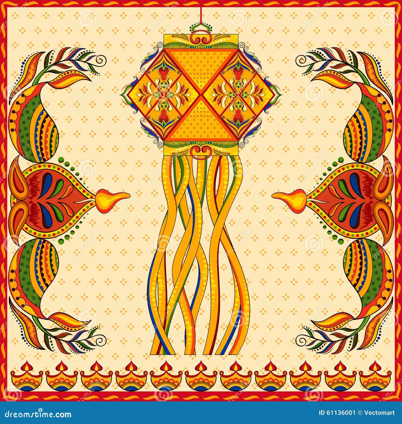 Hanging Kandil Lamp And Diya For Diwali Decoration Stock