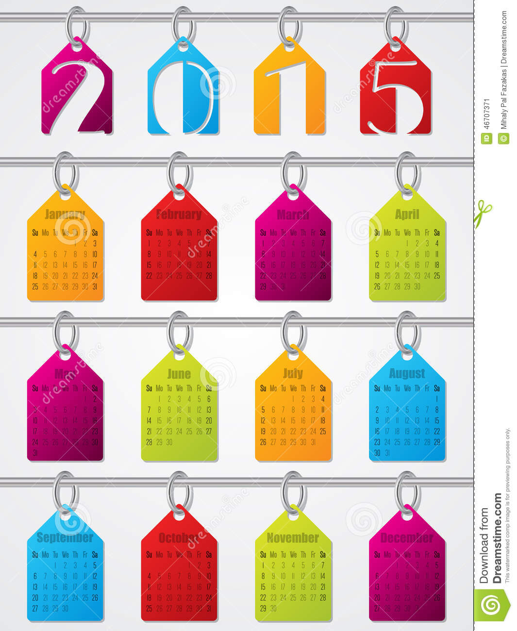 Hanging Calendar Design : Hanging labels calendar design stock vector image