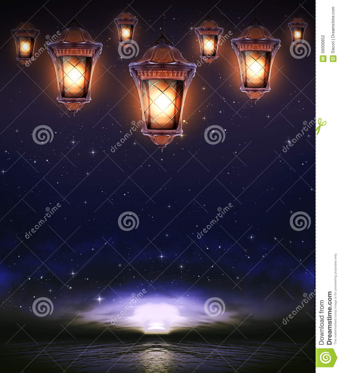 Hanging lamp with magic abstract background