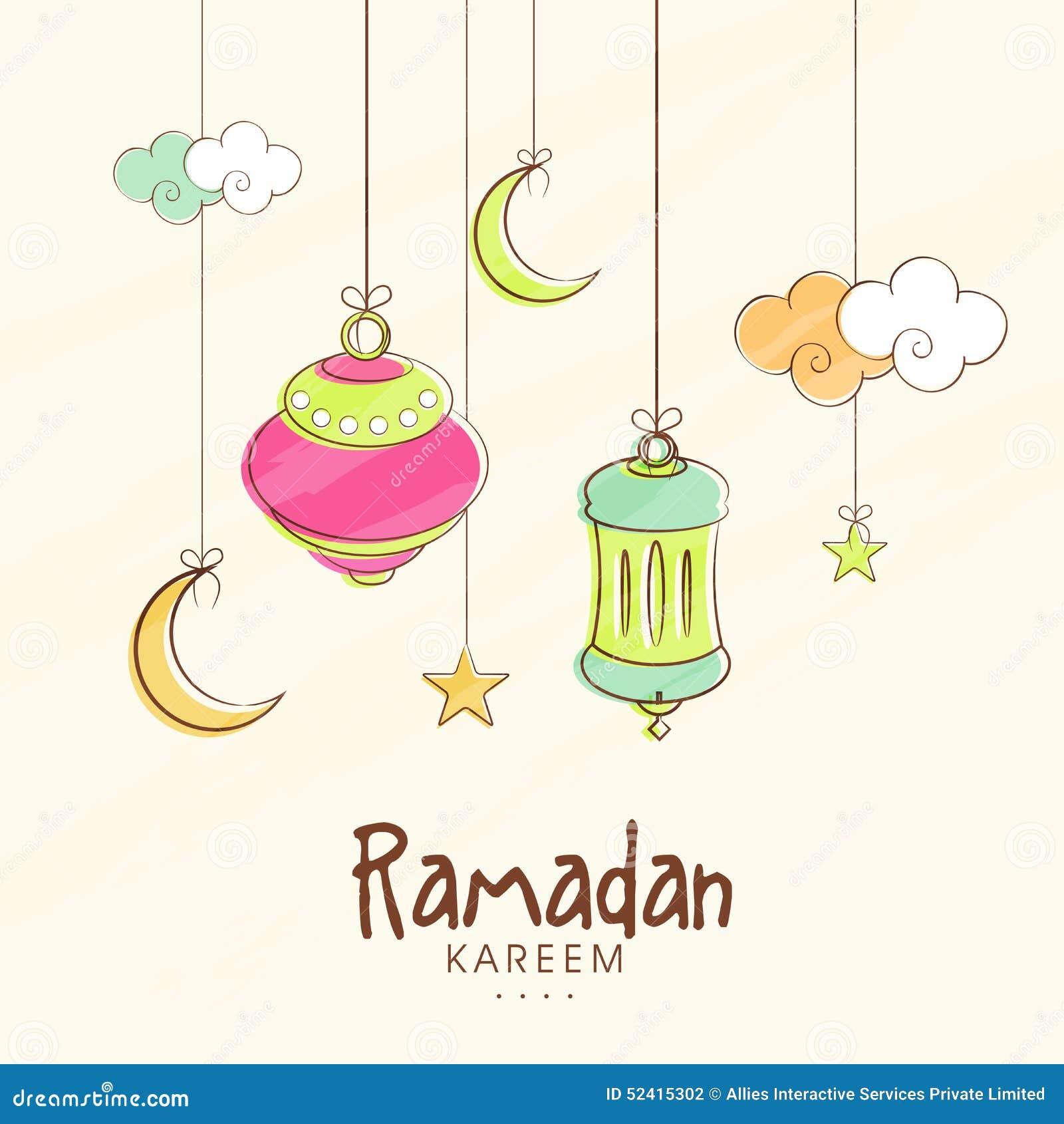 Hanging Lanterns Moons And Stars For Ramadan Kareem
