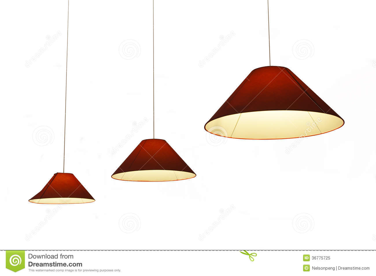 Hanging lights isolated on white