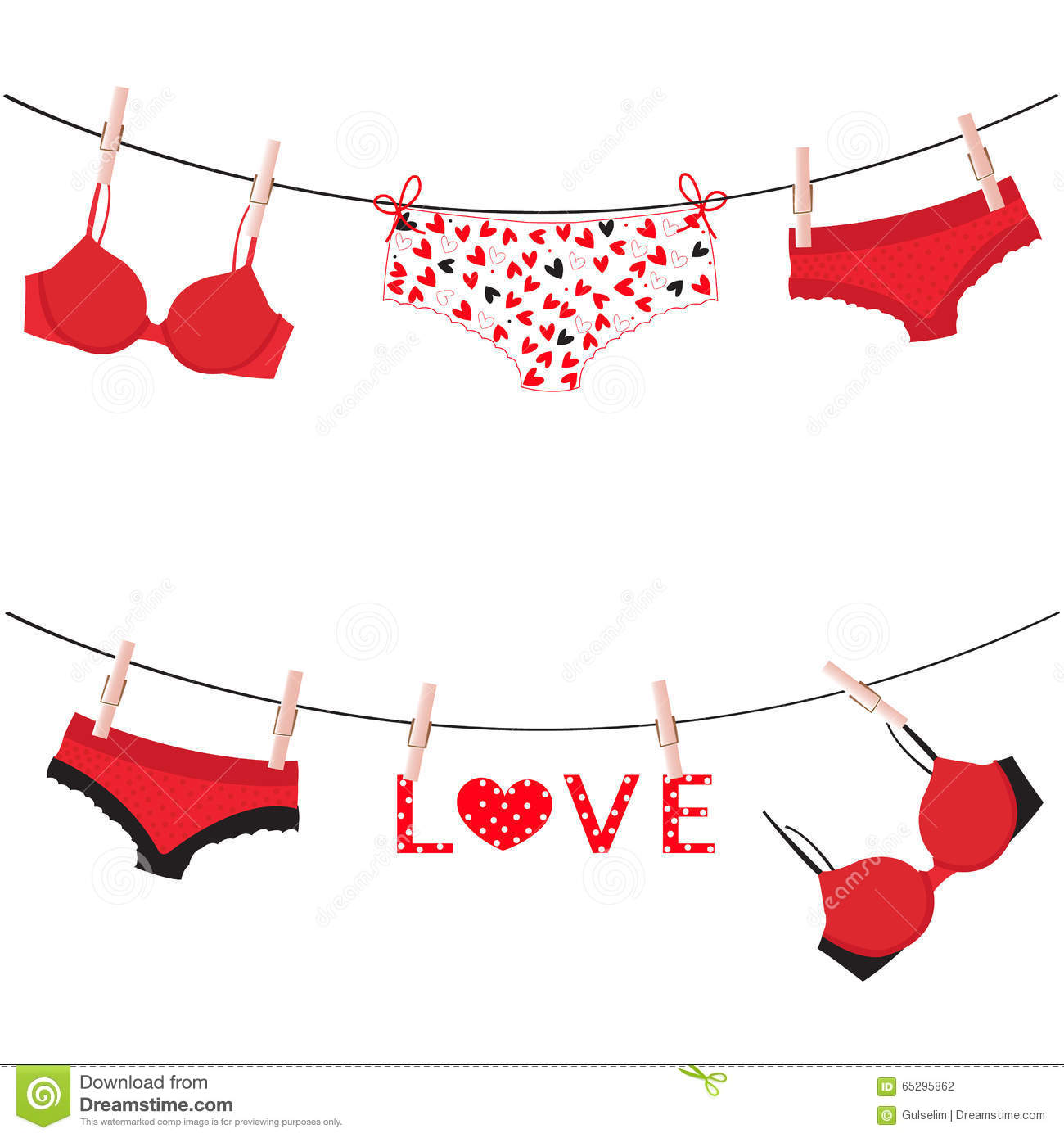 hanging lingerie panties underwear love valentine day card vector