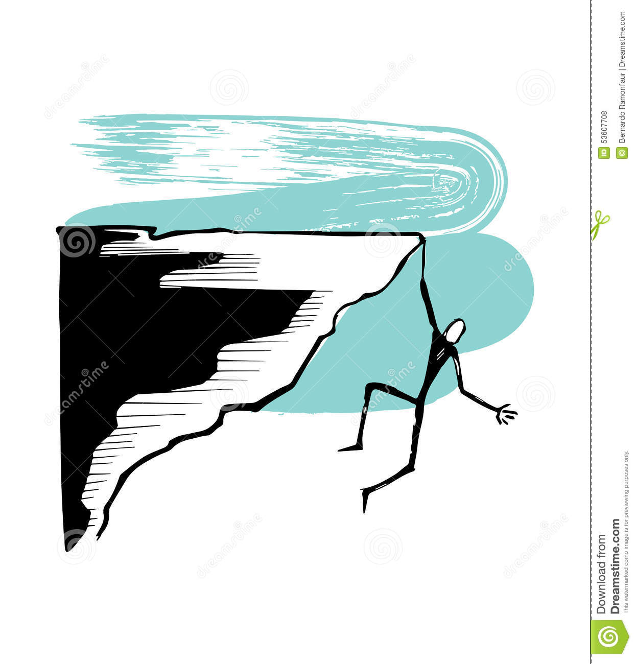Hanging Man On A Cliff Stock Vector Illustration Of Cartoon