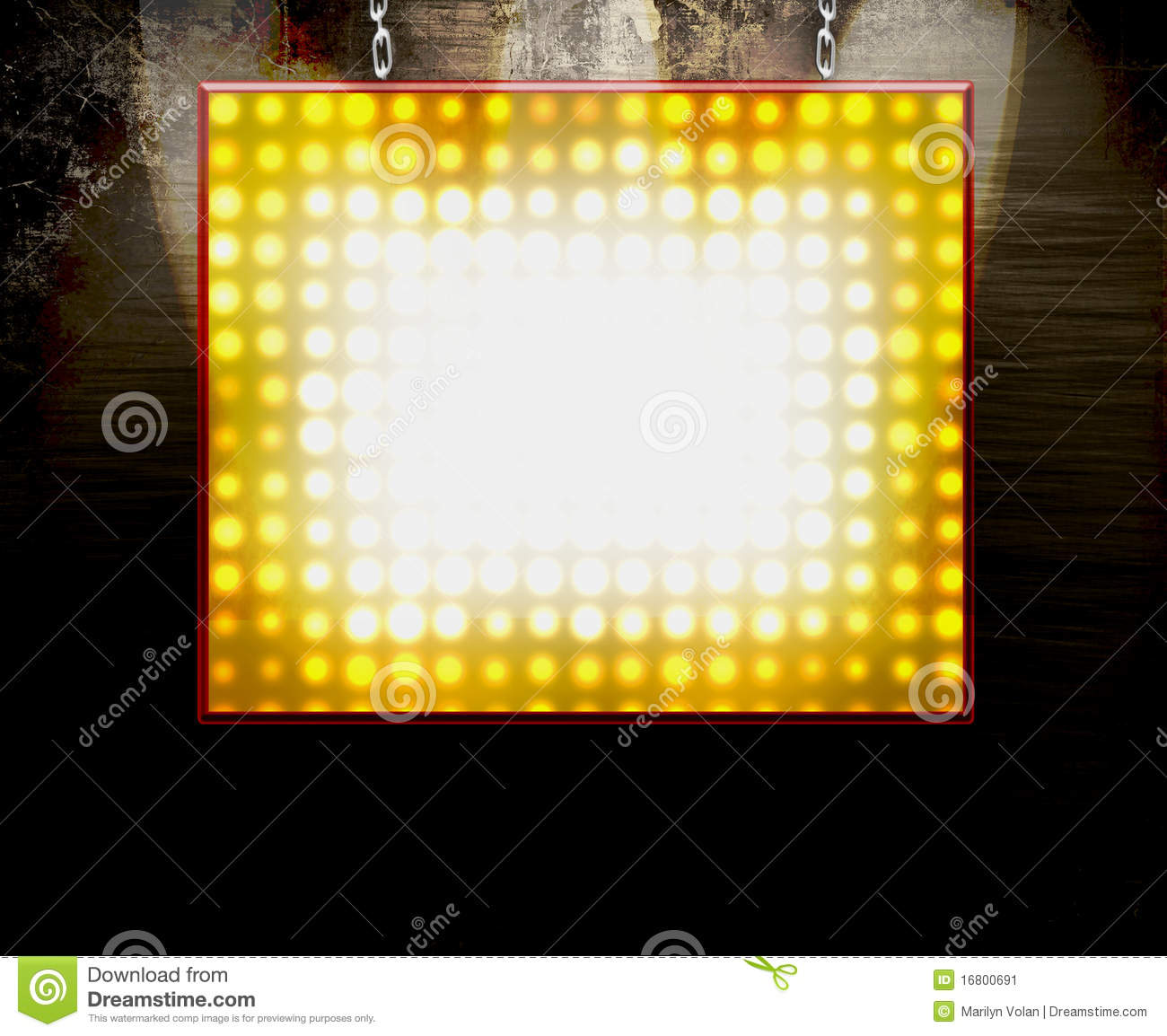 Theater Lights Background: Hanging Marquee Sign Stock Illustration. Illustration Of