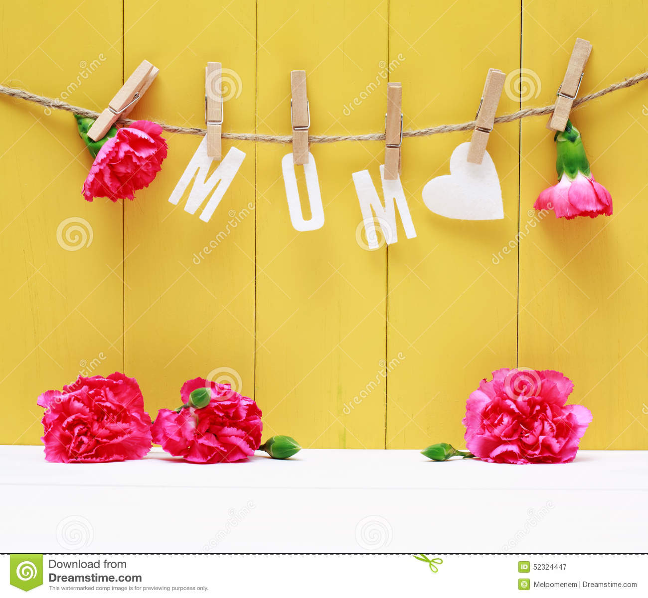 Hanging MOM Letters With Carnation Flowers Stock Image - Image of ...