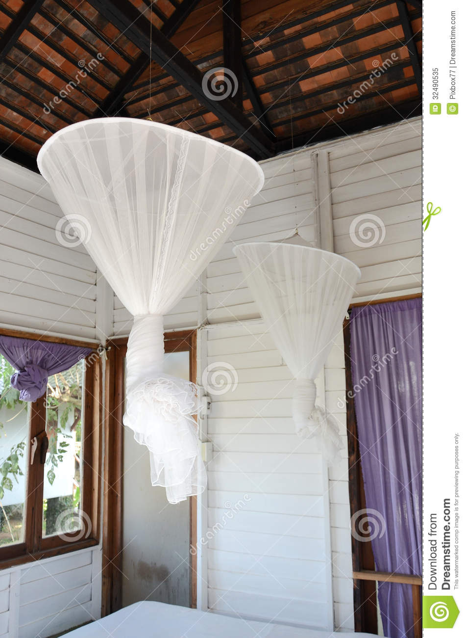 Hanging Mosquito Net Inside Bedroom Royalty Free Stock