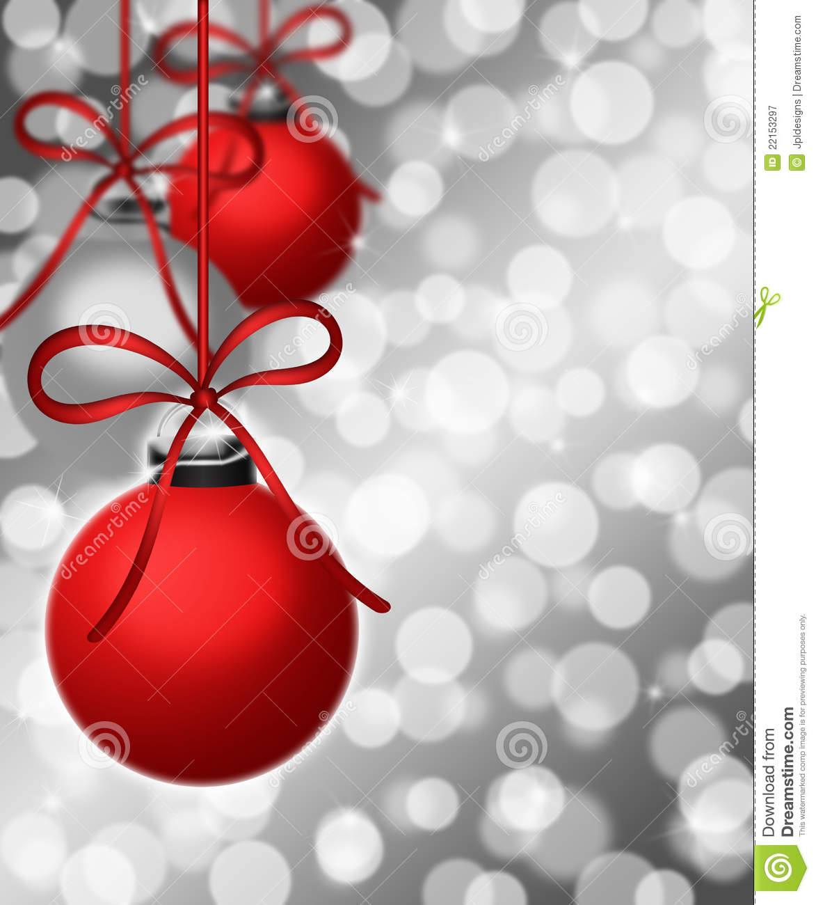 Hanging ornaments on blurred silver background royalty free stock photography image 22153297 - Hanging christmas ornaments ...