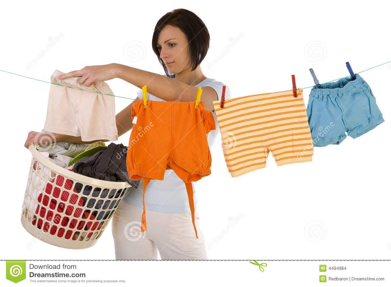 Hanging Out Washing On A Clothesline Stock Images Image