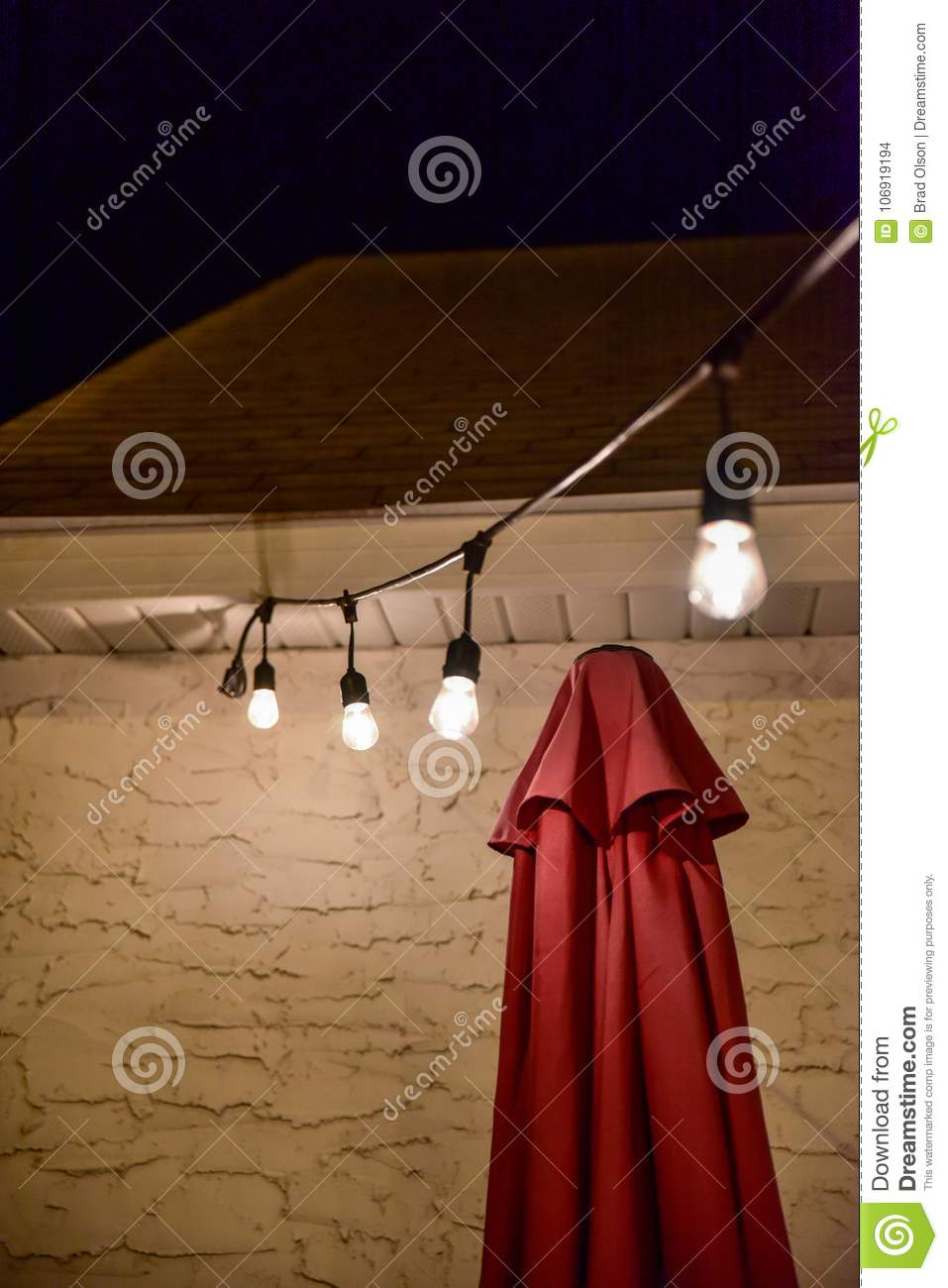 Hanging Outdoor Lights Over Patio In Summer Night Stock Photo Image Of Graphic Bradleyolson 106919194