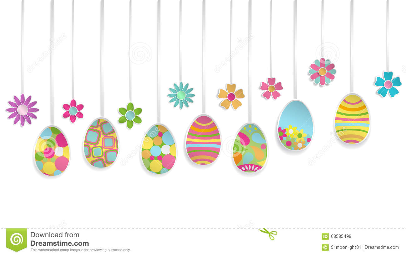 Hanging Paper Easter Eggs And Flowers Stock Vector Illustration Of
