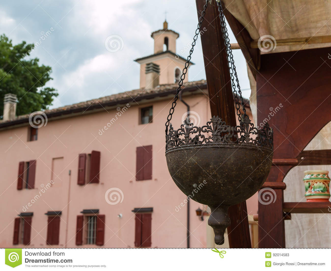 Hanging Planters Pots Wrought Half Round Stock Image Image Of