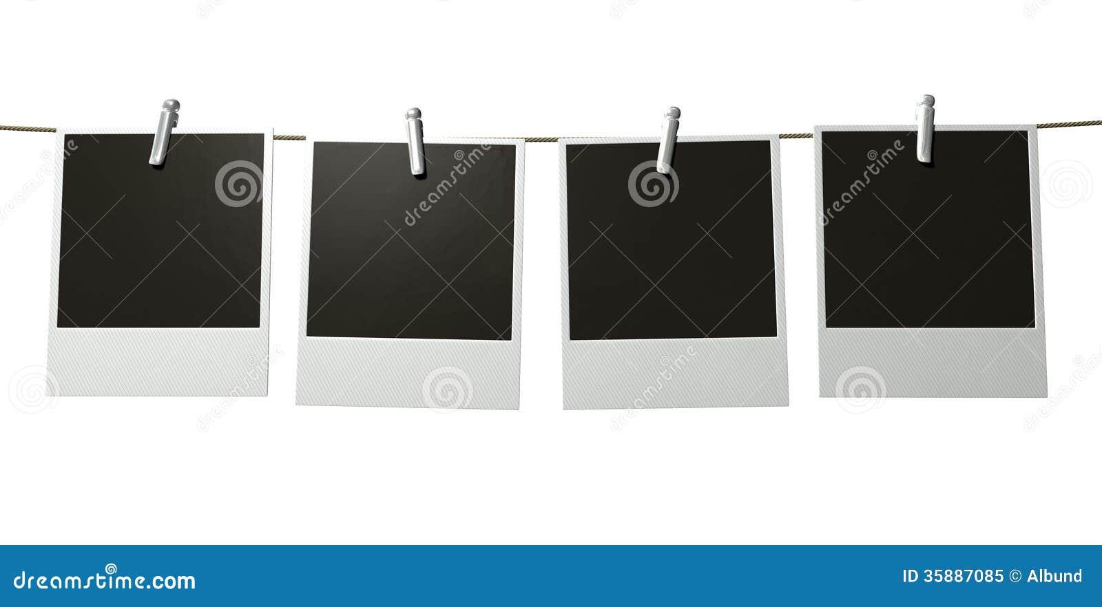 hanging polaroid gallery stock image image of blank 35887085. Black Bedroom Furniture Sets. Home Design Ideas