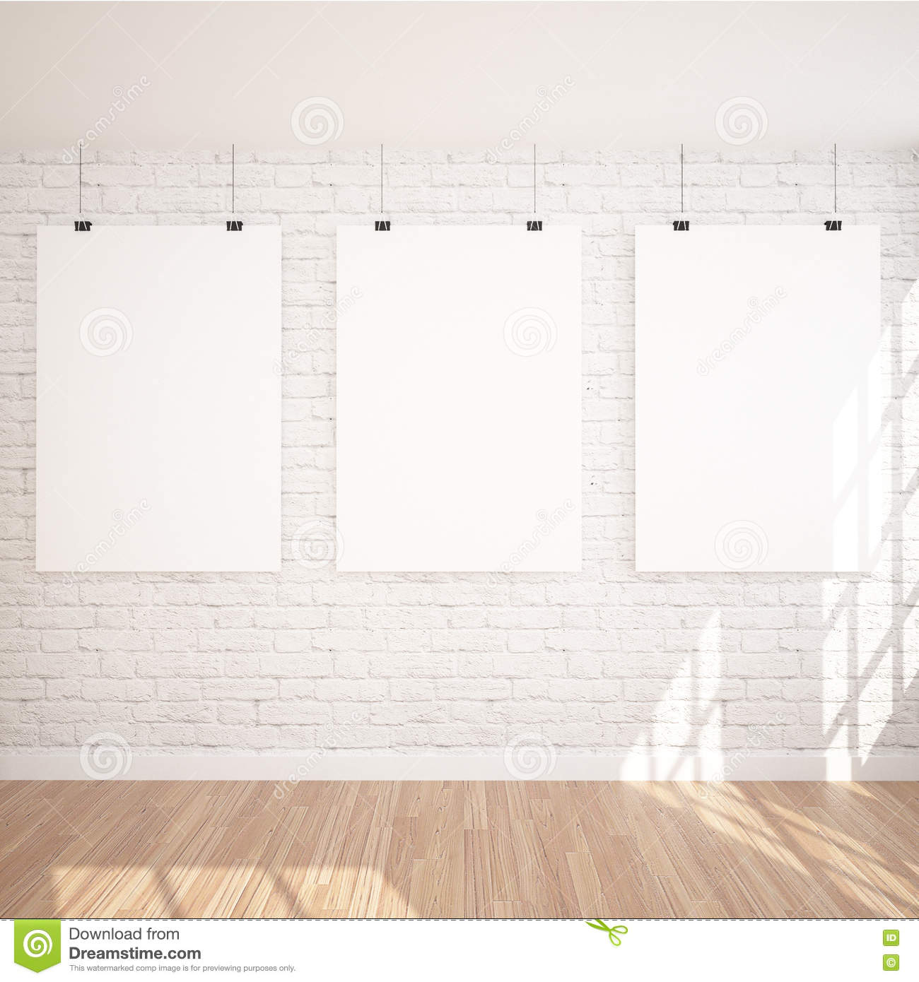 3 Hanging Poster Mock Up In Contemporary Exhibition Interior Space