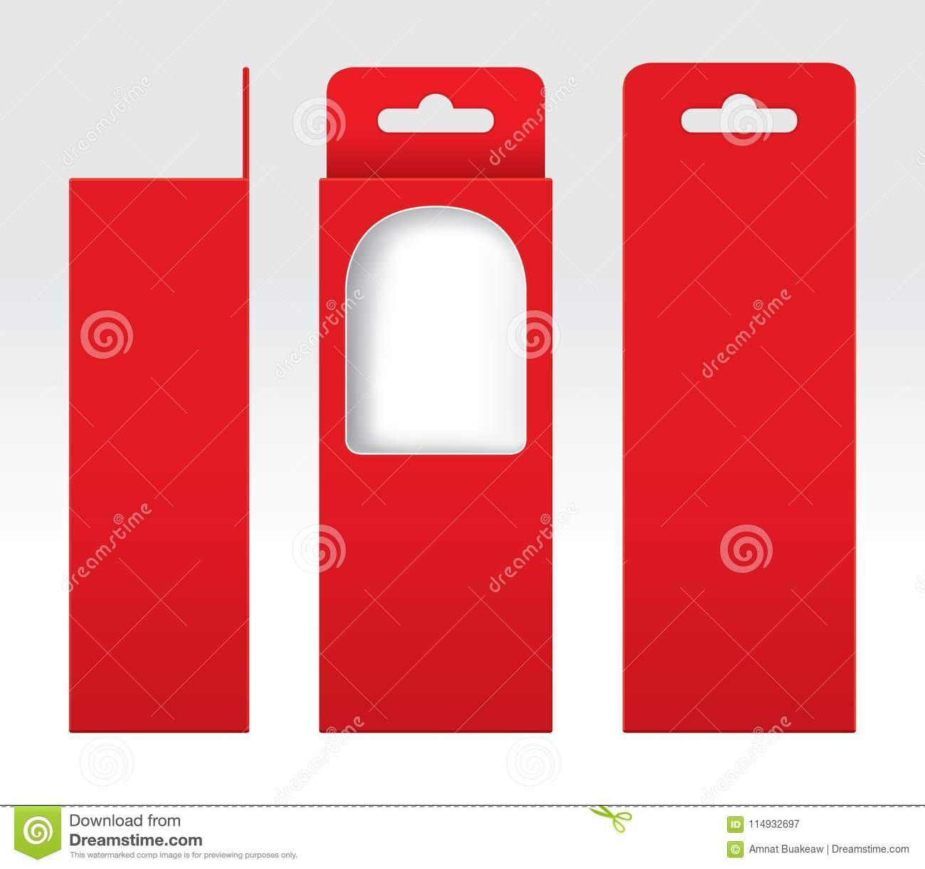 Hanging Red Box Window Cut Out Packaging Template Blank Empty Cardboard Gift