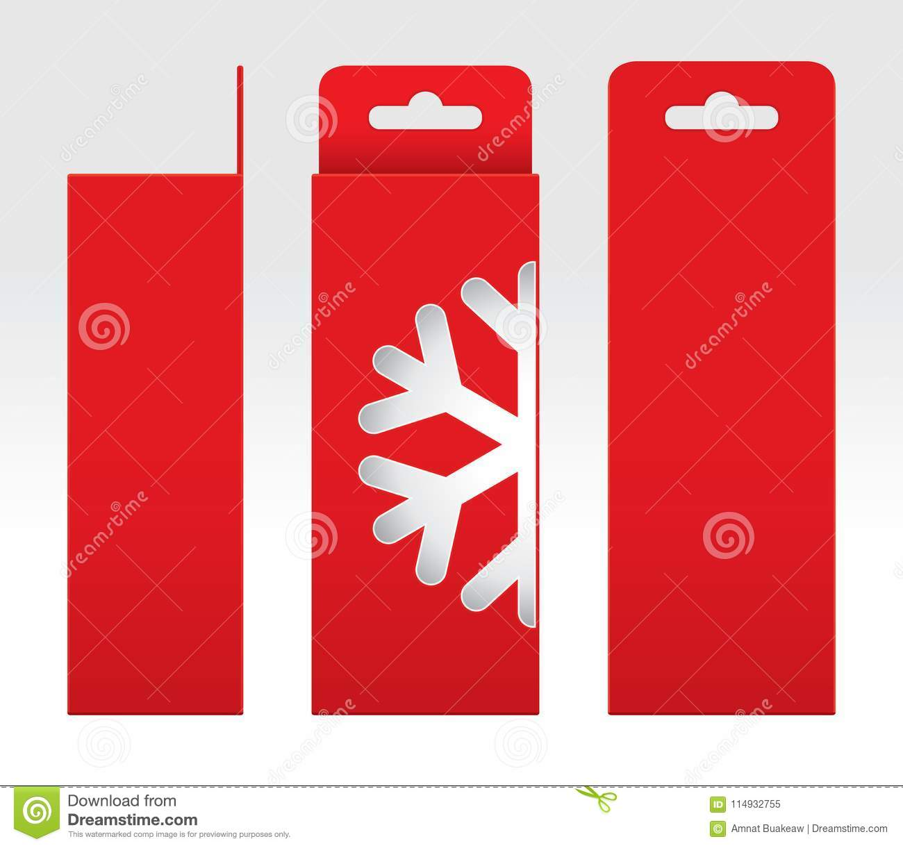 Hanging Red Box Window Snow Shape Cut Out Packaging Template Blank