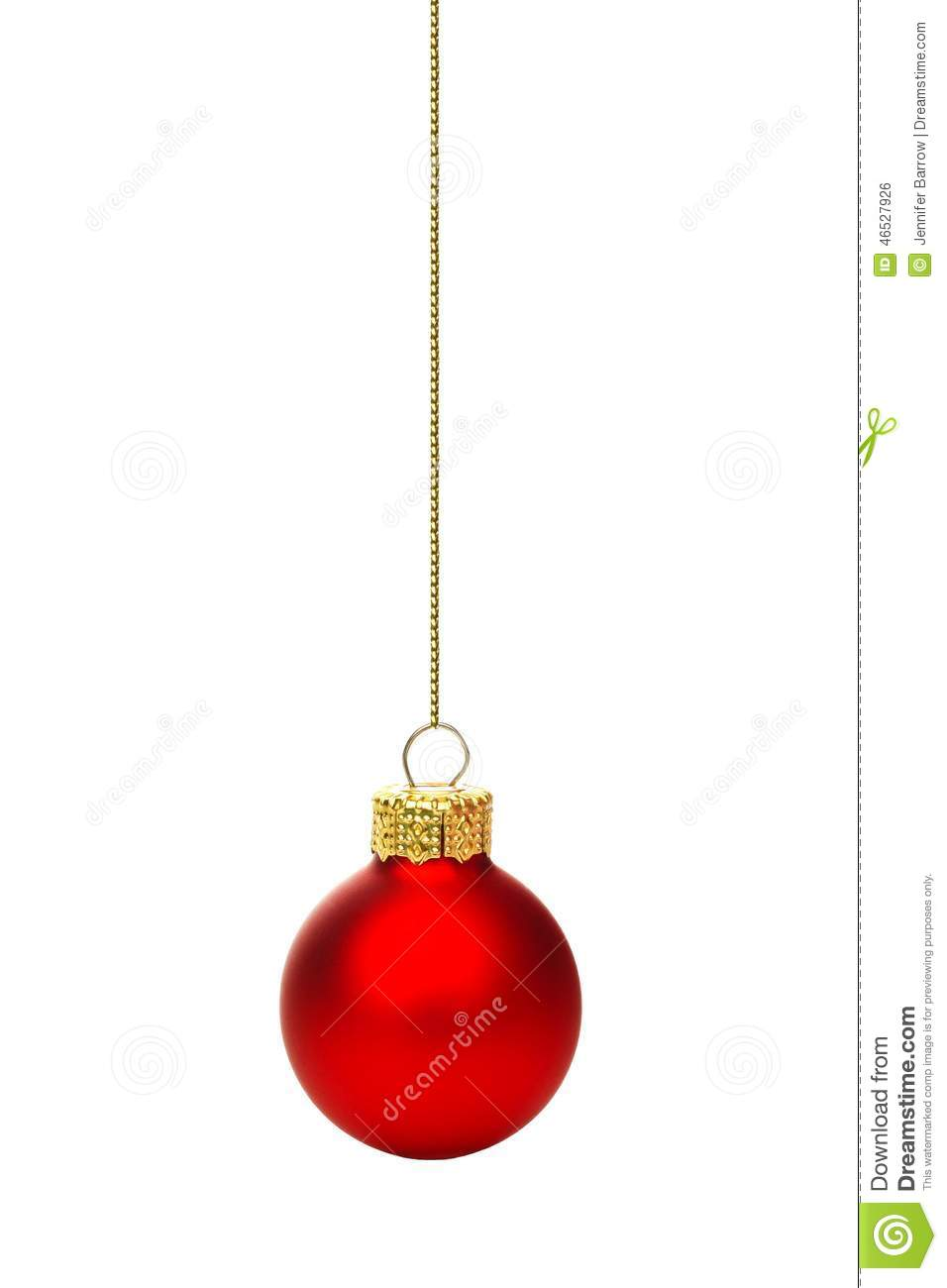 Hanging red christmas ornament isolated stock photo image 46527926 - Hanging christmas ornaments ...