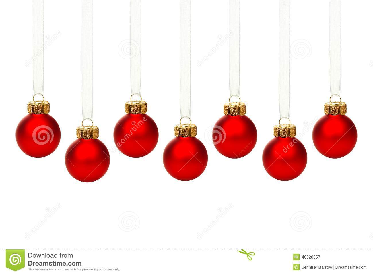Hanging red christmas ornaments isolated stock photo image 46528057 - Hanging christmas ornaments ...